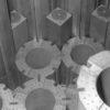 Graphite blocks in the reactor core