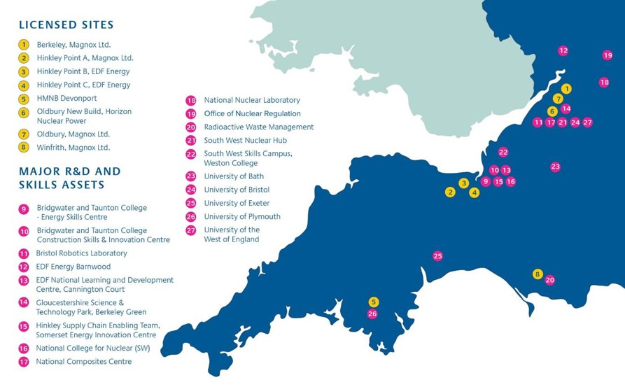 A map of the South West of the UK with the locations of nuclear licensed sites, and major nuclear R&D and skills assets.