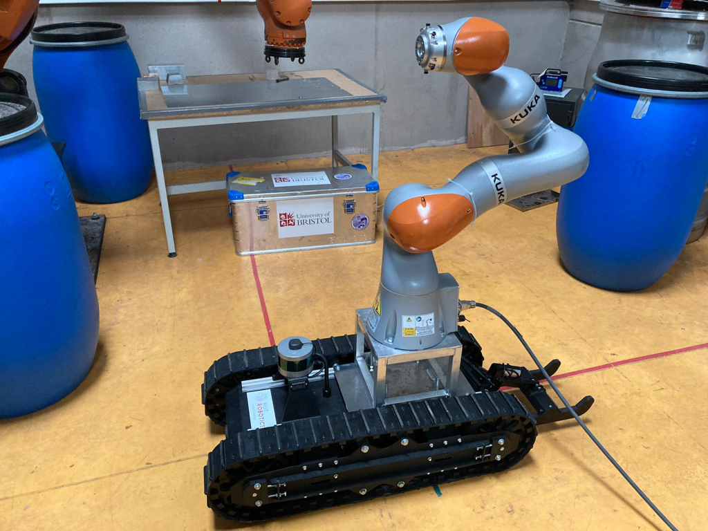 A Superdroid tracked robot with a mounted KUKA robot arm